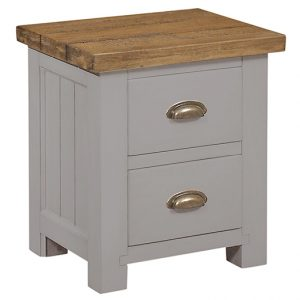 GRESFORD GREY 2 DRAWER BEDSIDE TABLE