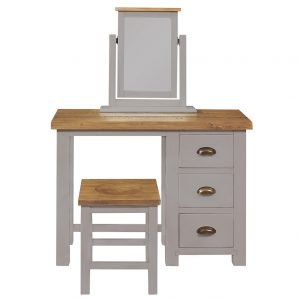 Gresford Grey Stool with Wooden Seat