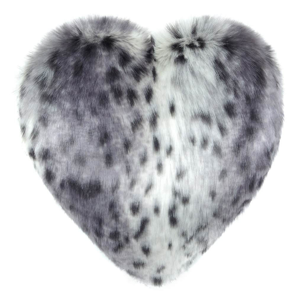 ARCTIC LEOPARD   FAUX FUR   HEART CUSHION