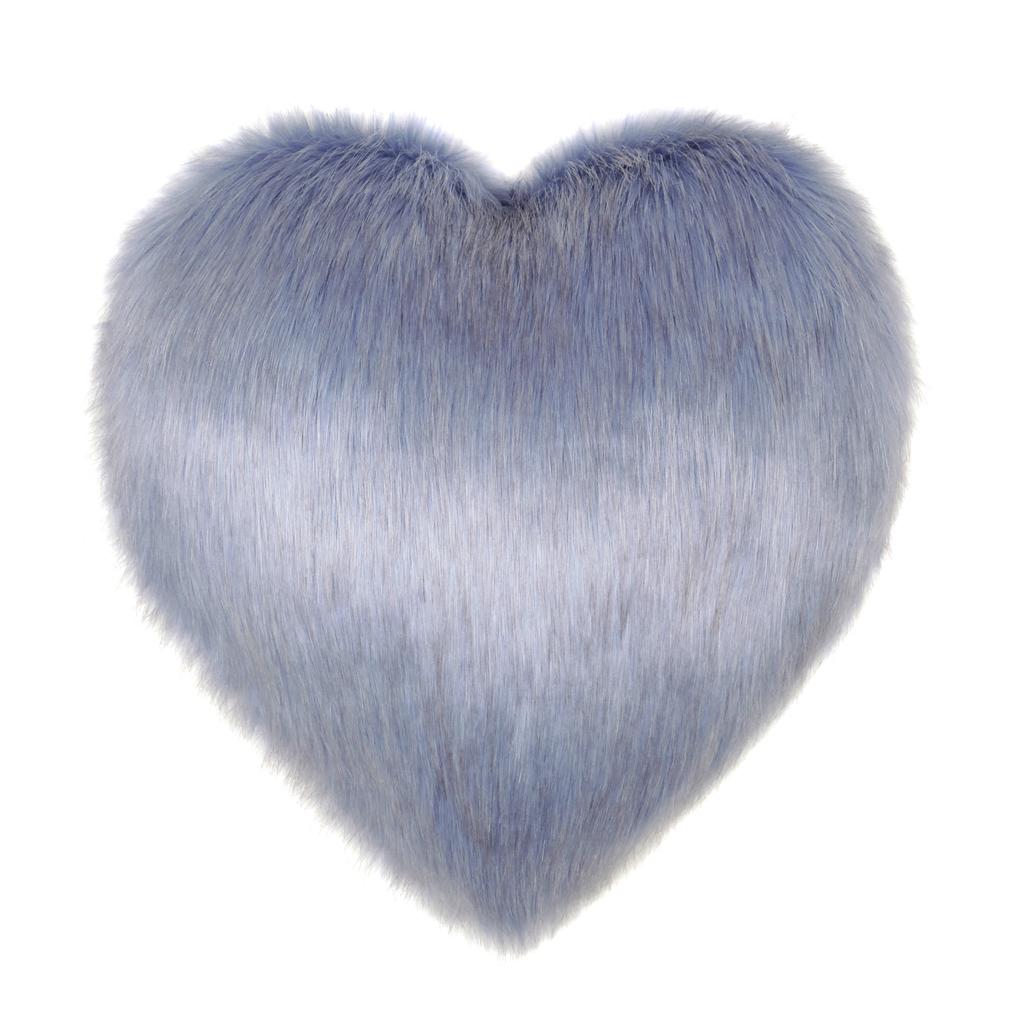 CORNFLOWER   FAUX FUR   HEART CUSHION