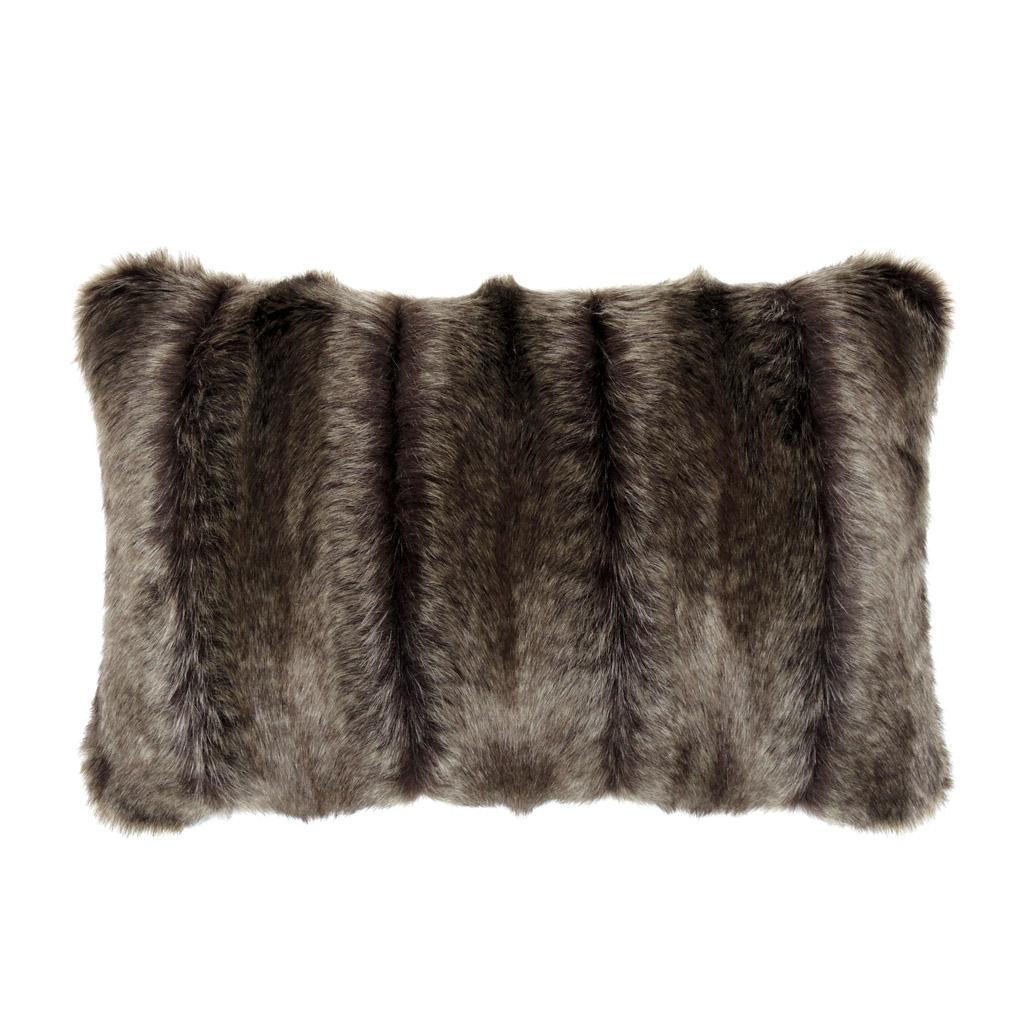 Faux Fur Oblong Pillow Brown