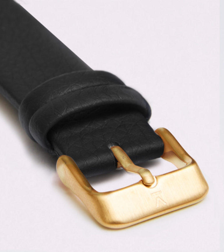 BLACK WITH BRUSHED GOLD BUCKLE   18MM   VOTCH