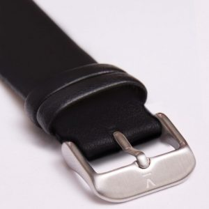 BLACK WITH BRUSHED SILVER BUCKLE | 20MM | VOTCH
