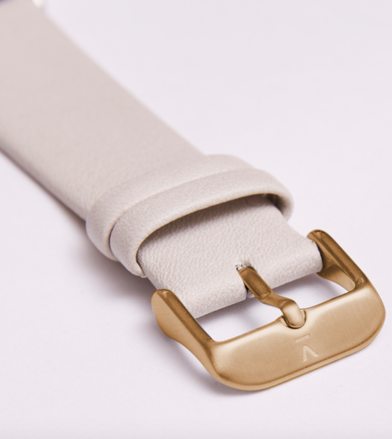LIGHT GREY WITH BRUSHED GOLD BUCKLE   20MM   VOTCH