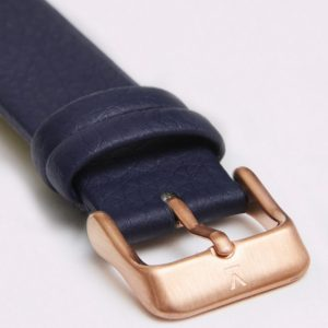 NAVY WITH BRUSHED ROSE GOLD BUCKLE   18MM   VOTCH
