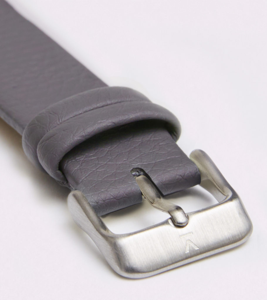 SLATE GREY WITH BRUSHED SILVER BUCKLE   18MM   VOTCH