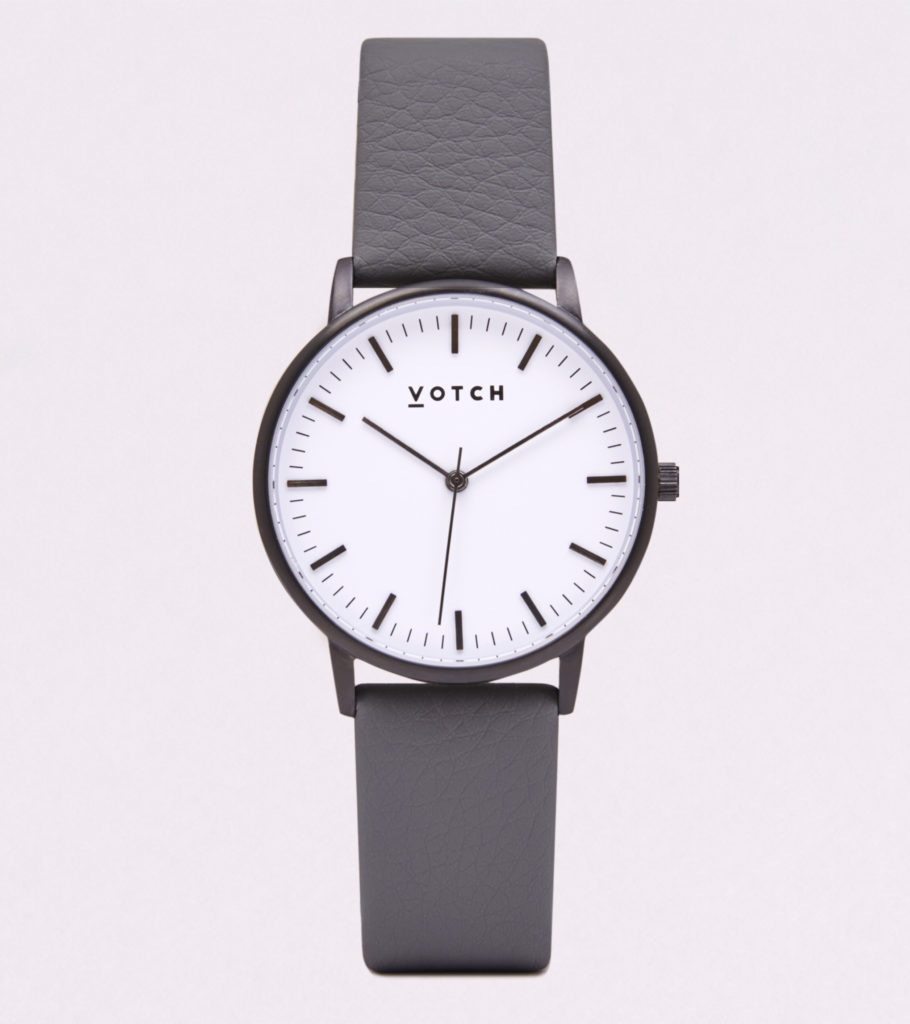THE BLACK & WHITE FACE WITH SLATE GREY STRAP | VOTCH