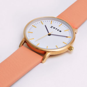 THE GOLD FACE WITH CORAL STRAP | VOTCH