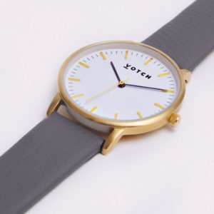 THE GOLD FACE WITH SLATE GREY STRAP | VOTCH