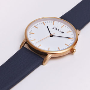 THE ROSE GOLD FACE WITH NAVY STRAP | VOTCH