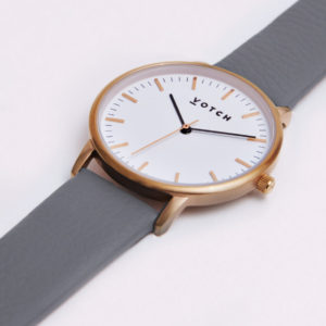 THE ROSE GOLD FACE WITH SLATE GREY STRAP | VOTCH