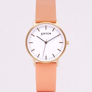 THE ROSE GOLD WITH CORAL STRAP   VOTCH