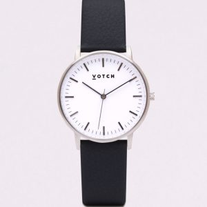THE SILVER FACE WITH BLACK STRAP | VOTCH
