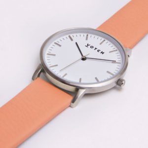 THE SILVER FACE WITH CORAL STRAP | VOTCH