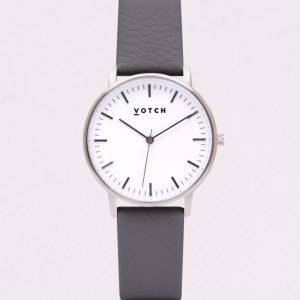 THE SILVER FACE WITH SLATE GREY STRAP | VOTCH