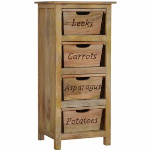 Mango Hill Kitchen Vegetable Rack with 4 Wooden Baskets