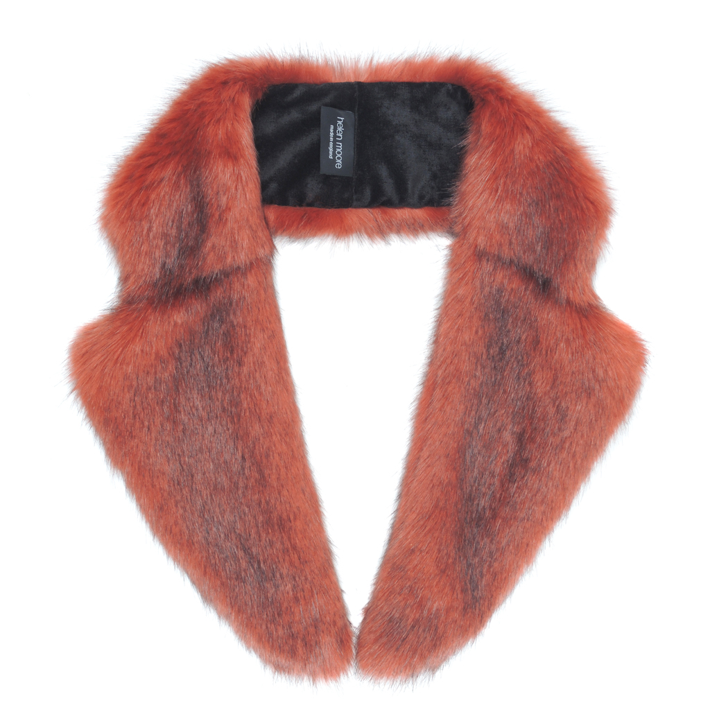 BRICK | FAUX FUR | LAPEL COLLAR
