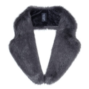 CHARCOAL | FAUX FUR | LAPEL COLLAR