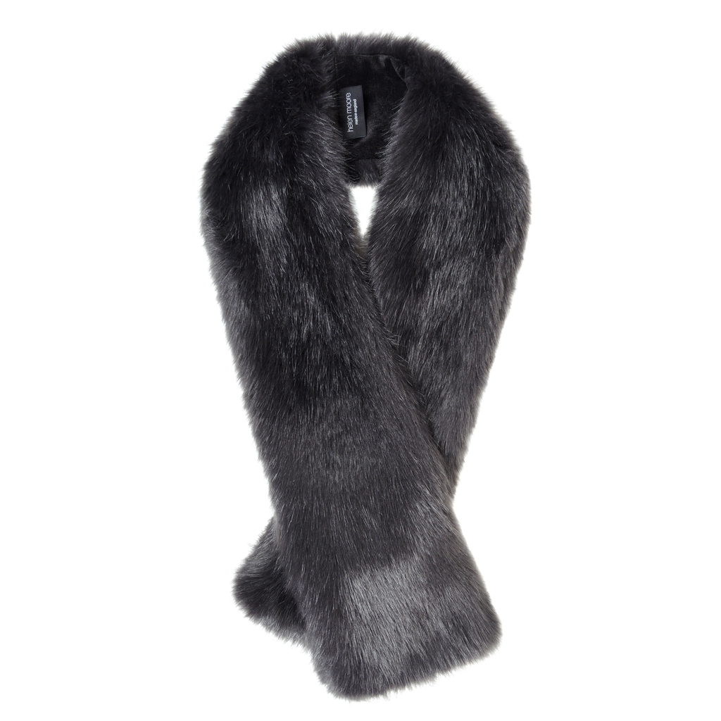 CHARCOAL | FAUX FUR | LONG TIPPET SCARF