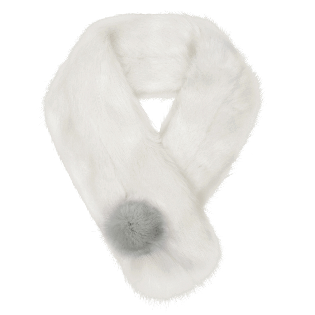 ERMINE | FAUX FUR | POM BUTTON SCARF
