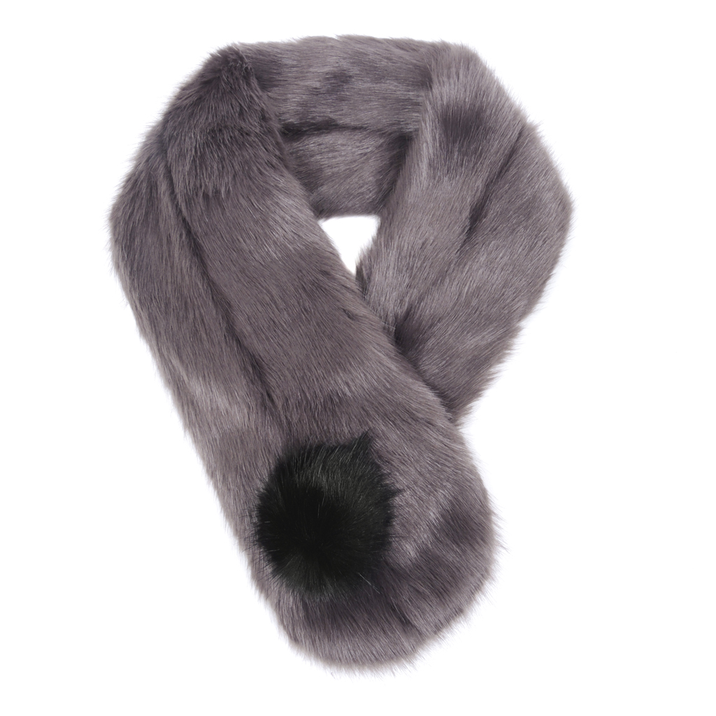 STEEL | FAUX FUR | POM BUTTON SCARF