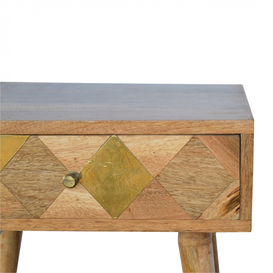 Mango Hill 1 Drawer Bedside with Gold Brass Insert