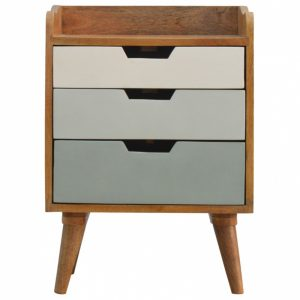 Mango Hill Bedside with Green Hand Painted Cut Out Drawers