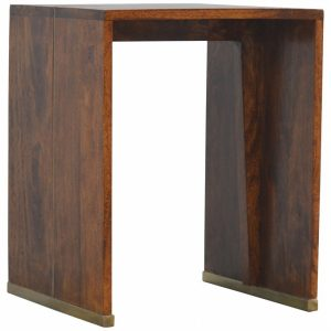 Mango Hill Chestnut Geometric End Table with Gold Inlay
