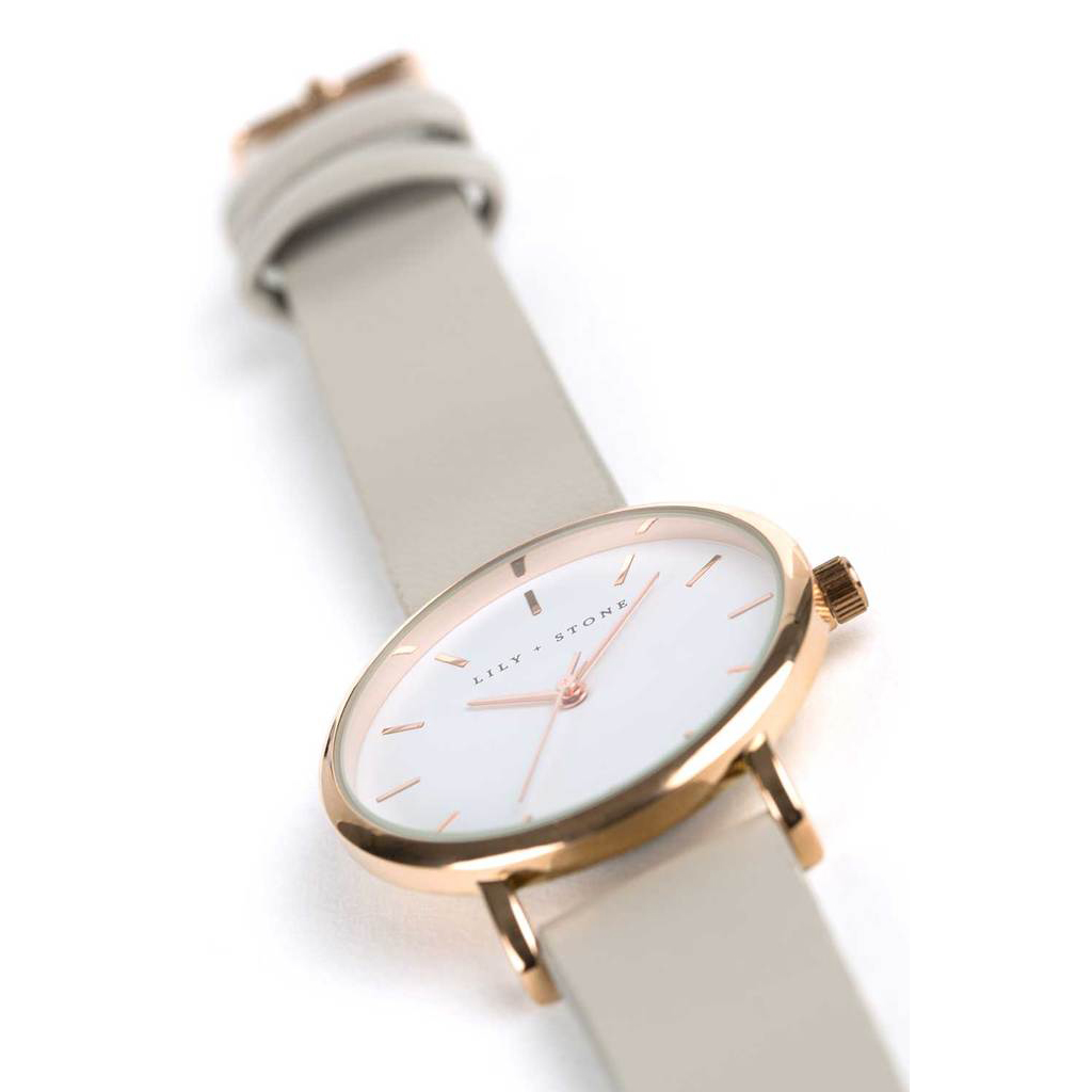 5th Avenue Collection // Rose Gold & White | Grey Strap