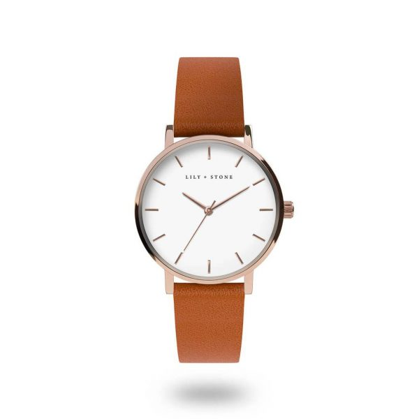 5th Avenue Collection // Rose Gold & White | Tan Strap