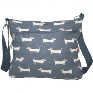 Dusky Blue Sausage Dog | Large Messenger Bag