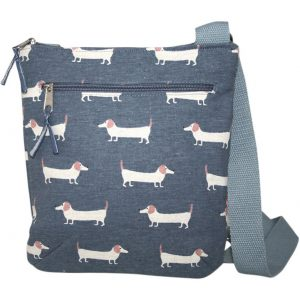 Dusky Blue Sausage Dog   Messenger Bag