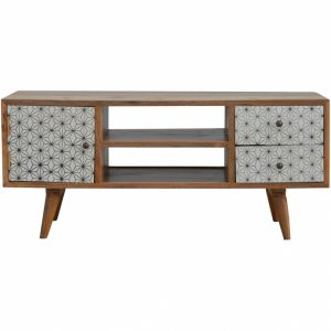 Mango Hill 2 Drawer Geometric Screen Printed Media Unit