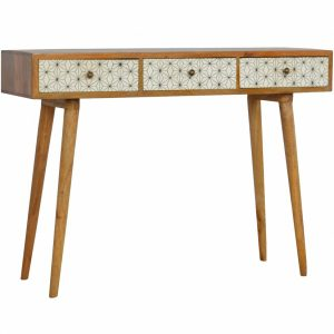 Mango Hill 3 Drawer Geometric-Screen-Printed Writing Desk