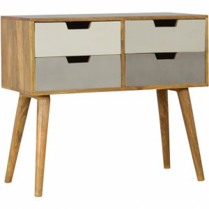 Mango Hill 4 Drawer Nordic Style Grey Hand-Painted Console Table