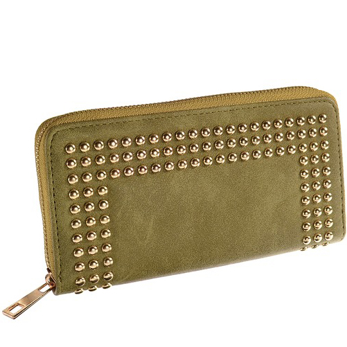 Oblong Gold Stud Khaki Purse