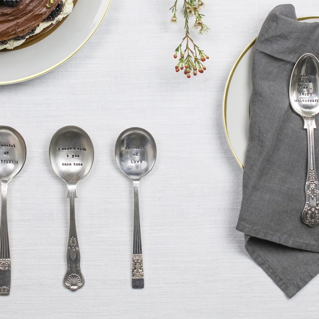 Dessert Spoon – 'It Started With A Kiss…Happy Anniversary'