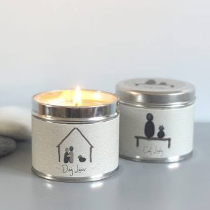 PEBBLE PEOPLE TIN CANDLE | CAT LADY