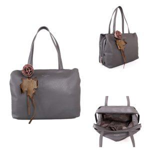 Grey Flower Detail | Shoulder Bag