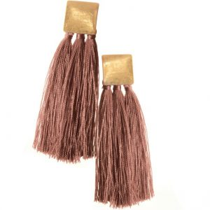 SQUARE & TASSEL | OLD ROSE EARRINGS