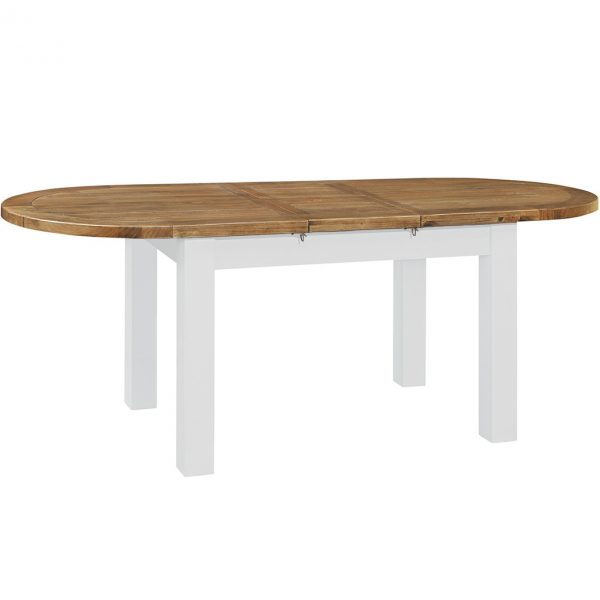 Gresford White Oval Ext. Table 1800 extend 2200
