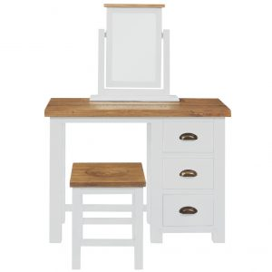 Gresford White Stool with Wooden Seat
