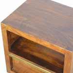 Mango Hill 1 Drawer Chestnut Bedside with Gold Pull Out Bar