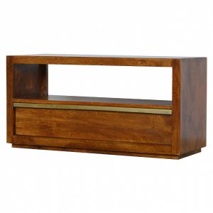 Mango Hill 1 Drawer Chestnut Media Unit With Gold Pull Out Bar