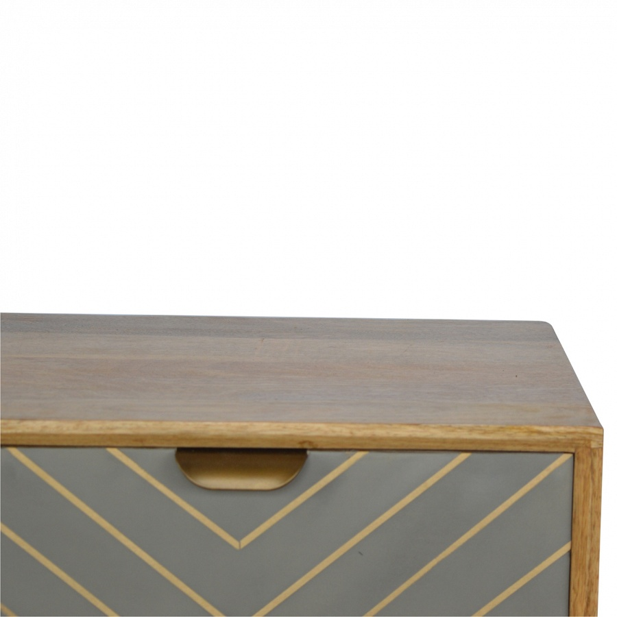 Mango Hill 1 Drawer Nordic Style Sleek Cement Bedside with Brass Inlay