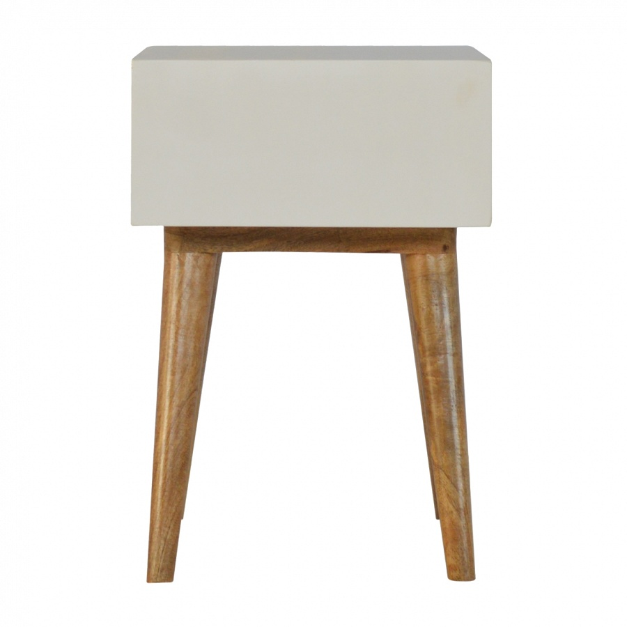 Mango Hill 1 Drawer Painted Nordic Style Bedside With Round Cut-Out