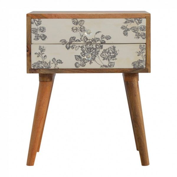 Mango Hill 2 Drawer Black Floral Screen-Printed Bedside