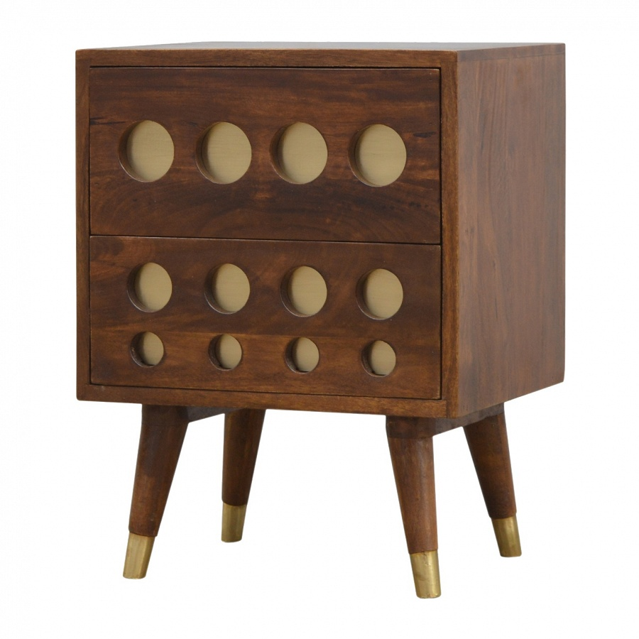 Mango Hill 2 Drawer Chestnut Nordic Style Bedside with Brass Inlay