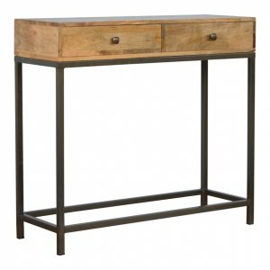 Mango Hill 2 Drawer Console Table with Iron Base