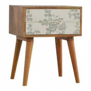 Mango Hill 2 Drawer Green Floral Screen-Printed Bedside